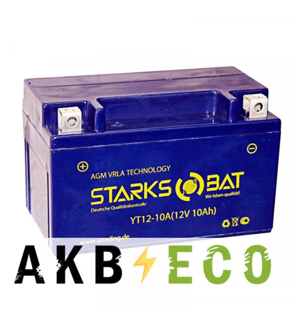 Мотоциклетный аккумулятор STARKS BAT YT S 12-10A 10 ач +- 135A (150x87x93) YTZ10S AGM