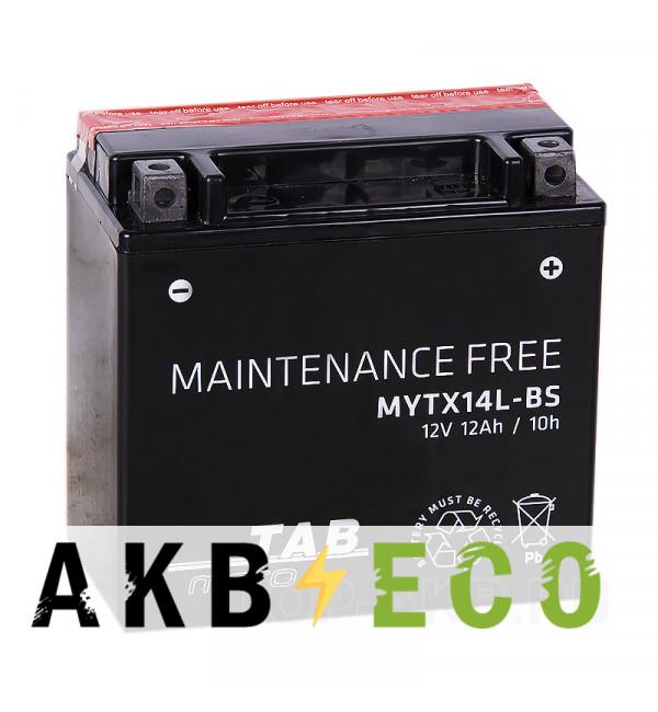 Мотоциклетный аккумулятор TAB Moto Maintenance free MYTX14L-BS 12V 12Ah 180A (150х87х145) обр. пол. AGM сухоз.