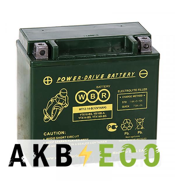 Аккумулятор для скутера WBR MT12-14-B AGM 14 Ач 210А прямая пол.(150x87x145) YTX14-BS, YTX14H-BS,YTX16-BS, YB16B-A