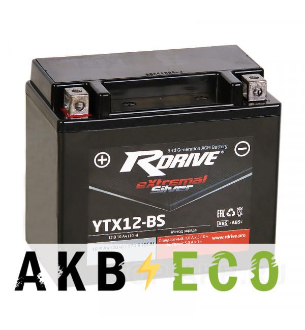 Мотоциклетный аккумулятор RDrive YTX12-BS 12V 10Ah 170Апрям. пол. AGM сухозаряж. (150x87x130) eXtremal SILVER