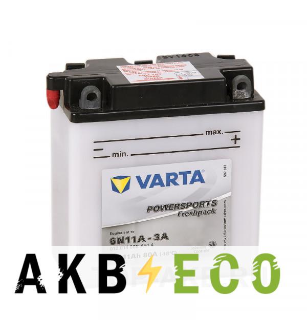 Мотоциклетный аккумулятор VARTA Powersports Freshpack 6N11A-3A 6V 11 Ач 80А (122x61x135) обр. пол. 012 014 008, сухозар.