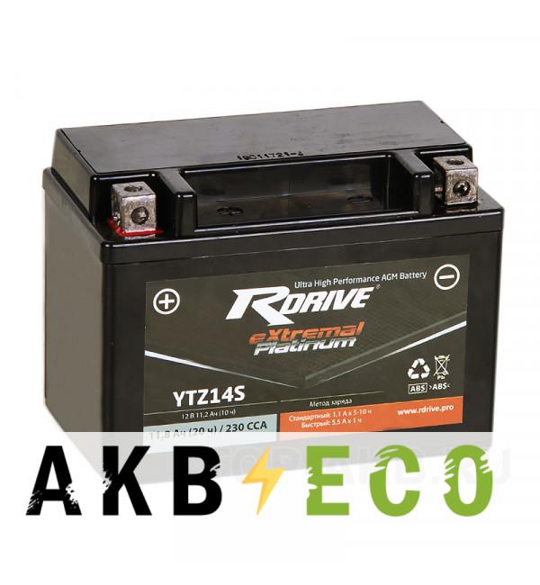 Мотоциклетный аккумулятор RDrive YTZ14S 12V 11Ah 230А прям. пол. AGM (150x87x110) eXtremal PLATINUM