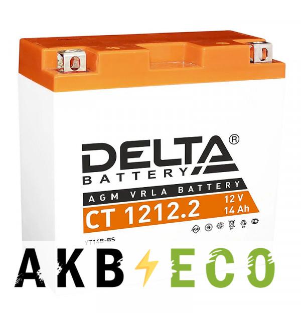 Мотоциклетный аккумулятор Delta CT 1212.2, 12V 14Ah, 155А (152x70x150) YT14B-BS