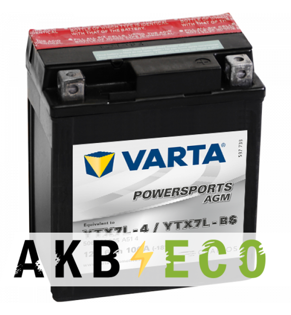 Мотоциклетный аккумулятор VARTA Powersports AGM YTX7L-BS 12V 6Ah 100А (114x71x131) обр. пол. 506 014 005, сухозар.