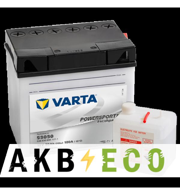 Мотоциклетный аккумулятор VARTA Powersports Freshpack 53030 12V 30Ah 180А (186x130x171) обр. пол. 530 030 030, сухозар.