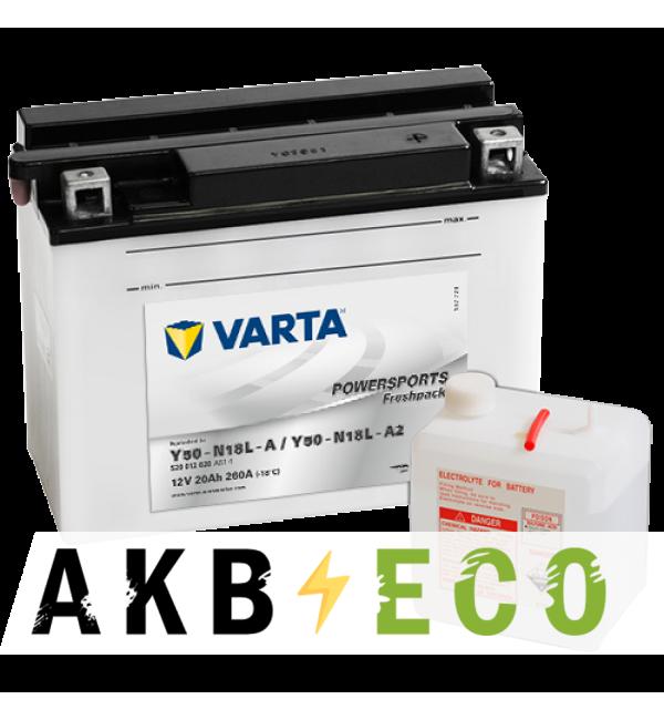Мотоциклетный аккумулятор VARTA Powersports Freshpack Y50-N18L-A 12V 20Ah 260А (207x92x164) о/п 520 012 020, сух.