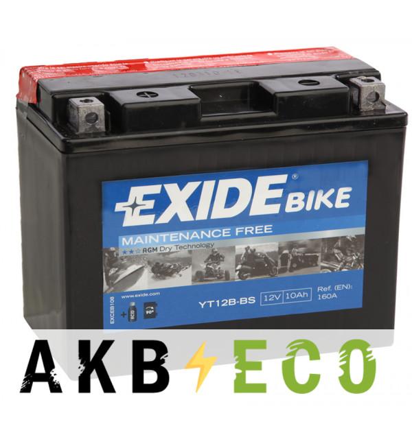 Мотоциклетный аккумулятор Exide AGM сухозаряж. ET12B-BS 12V 10Ah 160A (150x70x130) прям. пол.