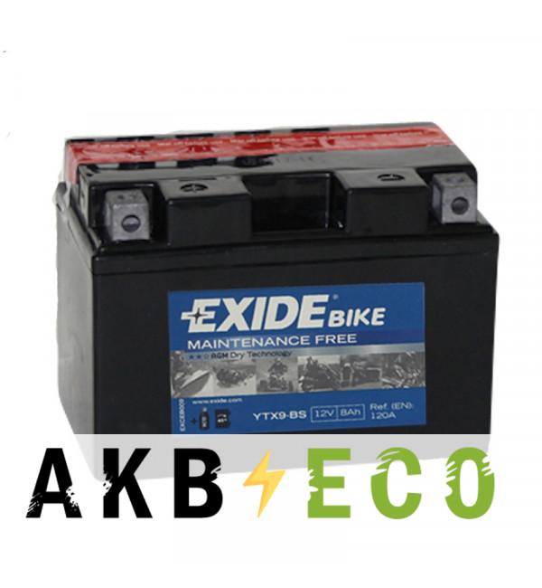 Мотоциклетный аккумулятор Exide AGM сухозаряж. ETX9-BS 12V 8Ah 120A (150x87x105) прям. пол.