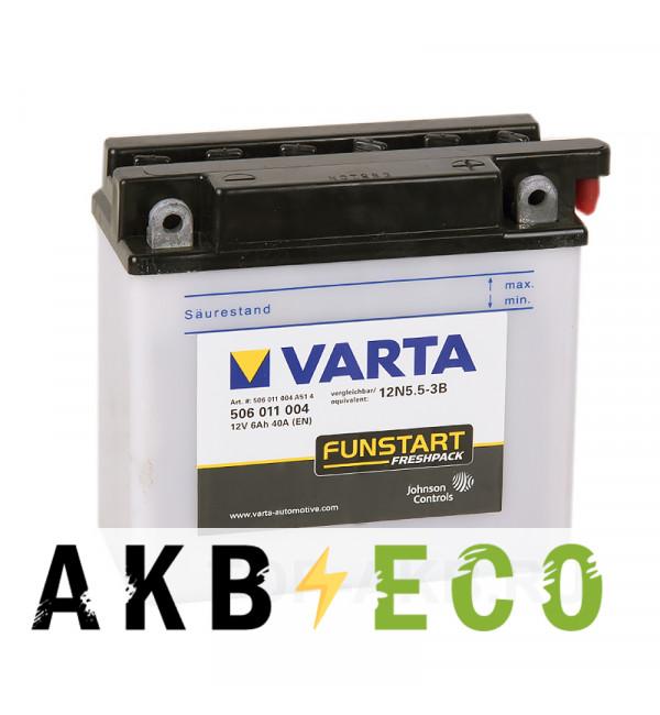 Мотоциклетный аккумулятор VARTA Funstart Freshpack 12N5.5-3B 12V 6Ah 55А (136x61x131) обр. пол. 506 011 004, сухозар.