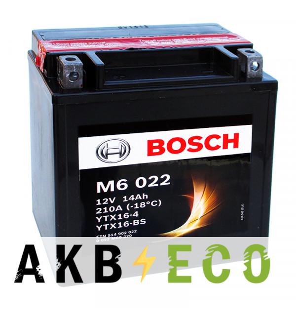 Мотоциклетный аккумулятор Bosch Moto AGM 14 Ач 210А (150x87x161) M60220 прямая пол.