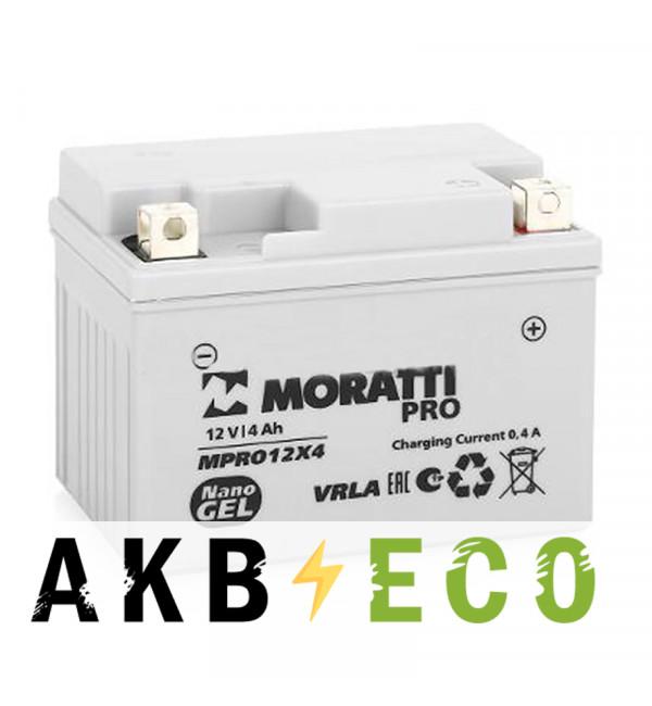 Мотоциклетный аккумулятор Moratti Moto YTX4L-BS - 4 Ач 60А (114x71x86) обр. пол. nano GEL