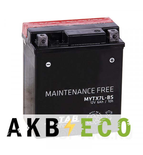 Мотоциклетный аккумулятор TAB Moto Maintenance free MYTX7L-BS 12V 6Ah 85A (113x70x130) обр. пол. AGM сухоз.