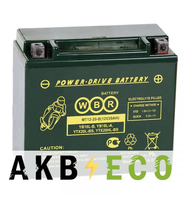 Мотоциклетный аккумулятор WBR MT12-20-B AGM 20 Ач 310А обратная пол. (175x87x155) YTX20L-BS, YTX20HL-BS, YB16L-B, YB18L-A