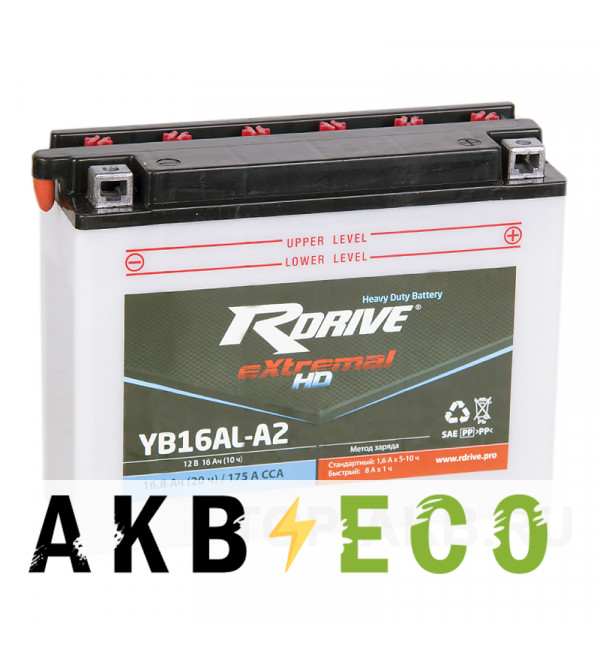 Мотоциклетный аккумулятор RDrive YB16AL-A2 12V 16Ah 175А обр. Heavy Duty (207x71.5x164) eXtremal HD сухозаряж.