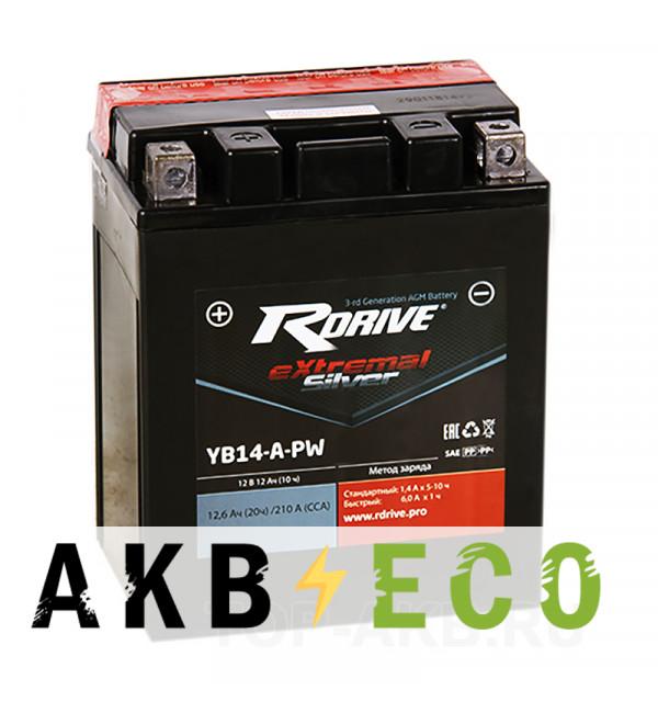 Мотоциклетный аккумулятор RDrive YB14-A-PW 12V 12Ah 210А прям. пол. AGM сухозаряж. (134x90x164) eXtremal SILVER