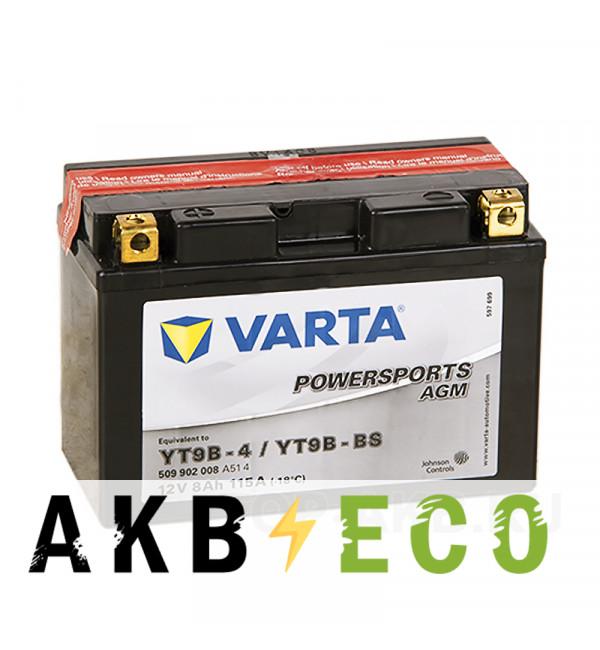 Мотоциклетный аккумулятор Varta Powersports AGM YT9B-4/YT9B-BS 12V 8Ah 115А (149x70x105) прямая пол. 509 902 008, сухозар.