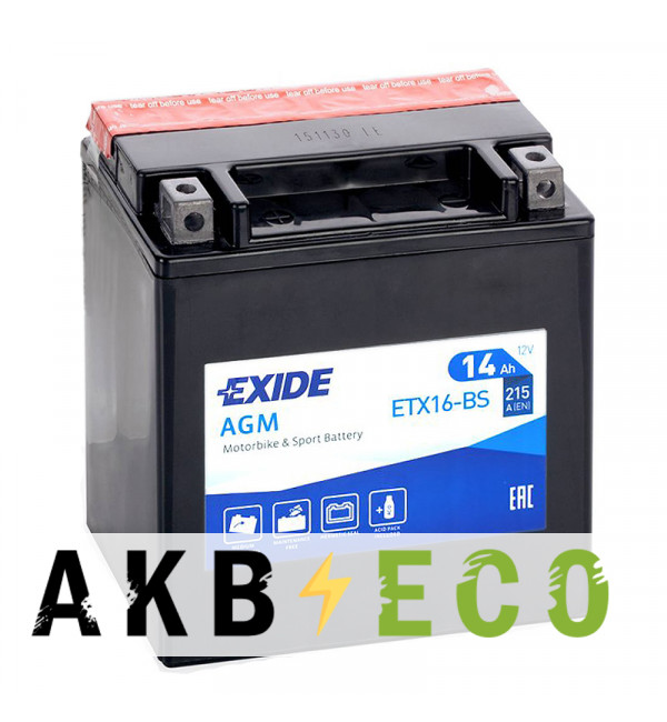 Мотоциклетный аккумулятор Exide AGM сухозаряж. ETX16-BS 12V 14Ah 215A (150x87x161) прям. пол.