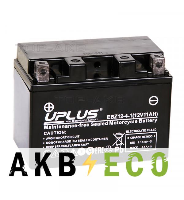 Мотоциклетный аккумулятор Uplus EBZ12-4-1 12V 11Ah 210А прям.пол. (150x88x110) Super Start High Performance AGM