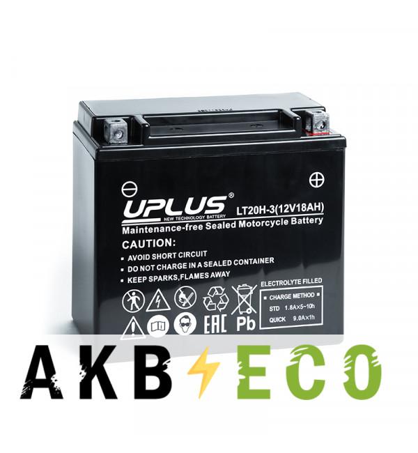 Мотоциклетный аккумулятор Uplus LT20H-3 12V 18Ah 310А обр. пол. (175x87x155) Super Start AGM