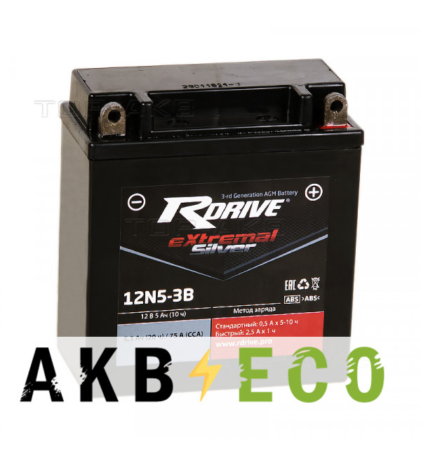 Мотоциклетный аккумулятор RDrive 12N5-3B 12V 5Ah 75А обр. пол. AGM сухозаряж. (119x59x130) eXtremal SILVER