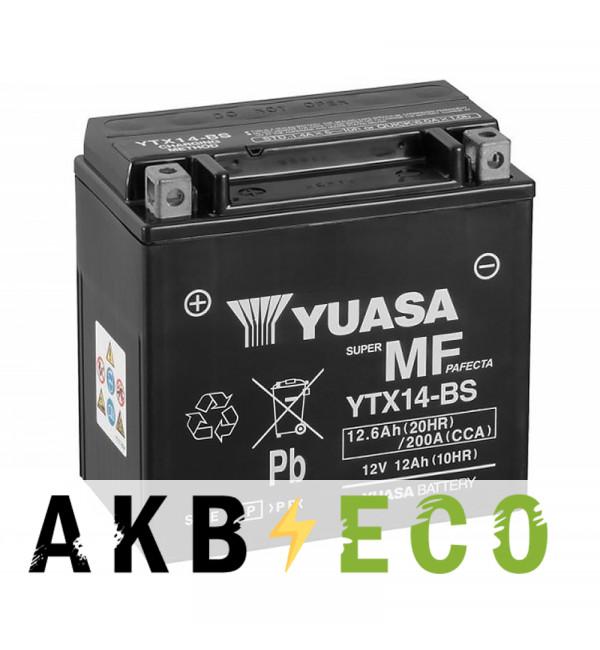 Аккумулятор для скутера Yuasa YTX14-BS - 12 Ач 200А (151x88x146) прям. пол. AGM сухозаряж.