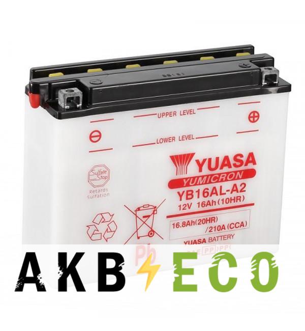 Мотоциклетный аккумулятор Yuasa YB16AL-A2 - 16 Ач 200A (207x72x164) обр. пол. Heavy Duty сухозаряж.
