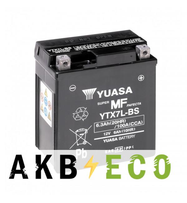 Мотоциклетный аккумулятор Yuasa YTX7L-BS - 6 Ач 105А (114x71x131) обр. пол. AGM сухозаряж.