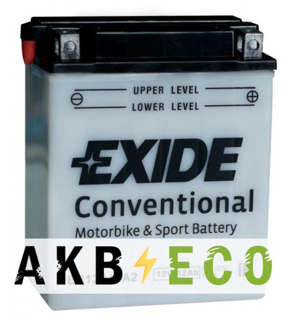 Мотоциклетный аккумулятор Exide Conventional EB12AL-A2 12V 12Ah 165A (134x80x160) обр. пол.