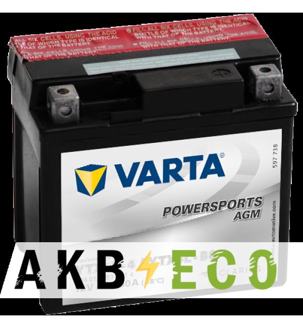 Мотоциклетный аккумулятор VARTA Powersports AGM YTX5L-4/YTX5L-BS 12V 4Ah 80А (113x70x105) обр. пол. 504 012 003, сухозар.