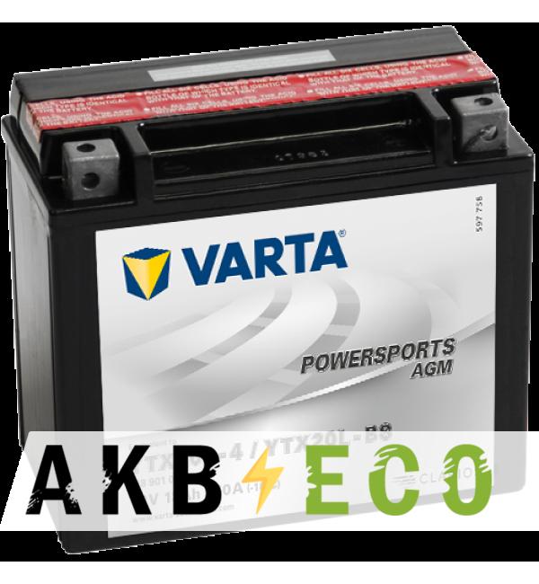 Мотоциклетный аккумулятор VARTA Powersports AGM YTX20L-4/YTX20L-BS 12V 18Ah 250А (177x88x156) обр. пол. 518 901 026, сухозар.