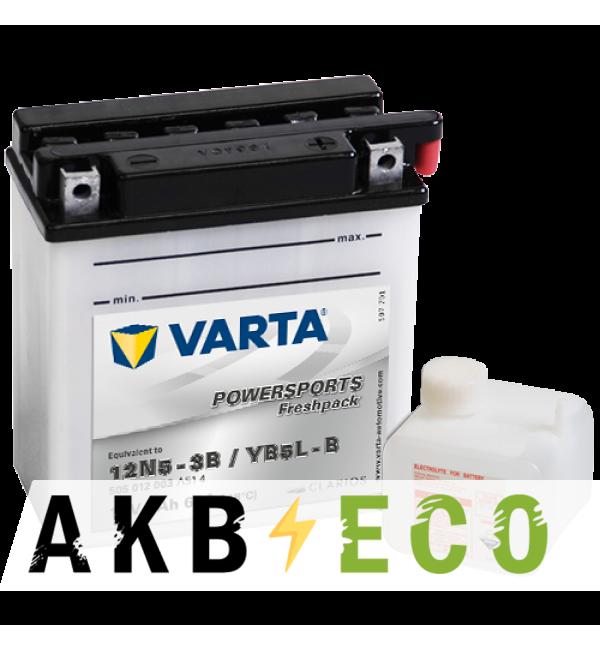 Мотоциклетный аккумулятор VARTA Powersports Freshpack YB5L-B 12V 5Ah 60А (121x61x131) обр. пол. 505 012 003, сухозар.