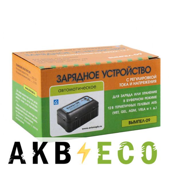 Зарядное устройство Вымпел 09 (автомат, 0.25-1.2А, 12-16В для гелевых и кислотных АКБ 0.8-20Ач с рег. ток. и напряж.)